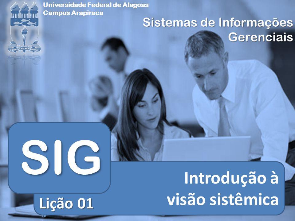 Sistemas de Informações Gerenciais Universidade Federal de Alagoas Campus Arapiraca Introdução à visão sistêmica SIG Lição 01