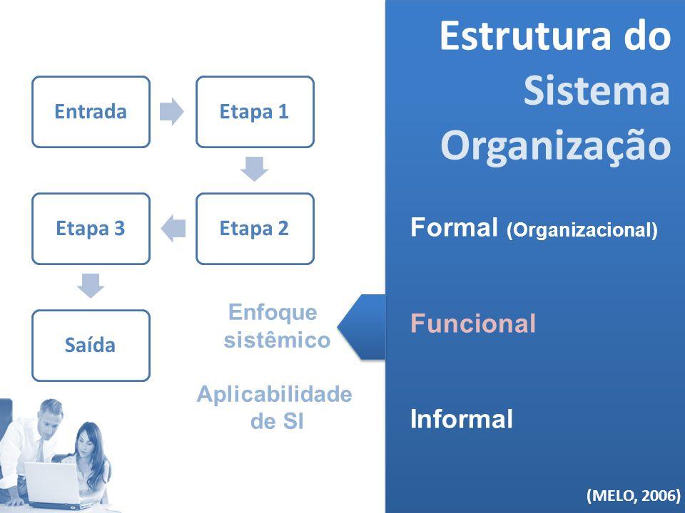 (MELO, 2006) Estrutura do Sistema Organização Formal (Organizacional) Funcional Informal (MELO, 2006) EntradaEtapa 1Etapa 2Etapa 3Saída Enfoque sistêm