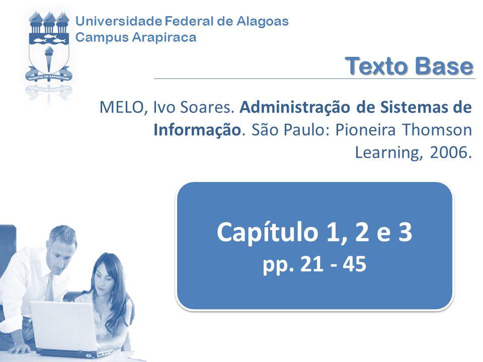Universidade Federal de Alagoas Campus Arapiraca Texto Base MELO, Ivo Soares. Administração de Sistemas de Informação. São Paulo: Pioneira Thomson Lea