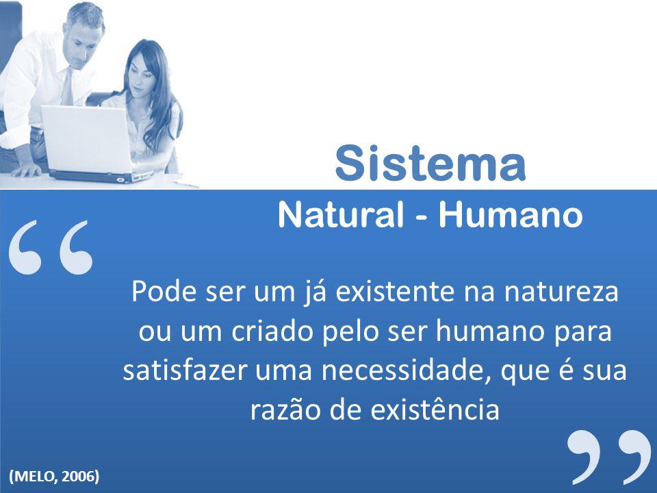 Sistema Natural - Humano Pode ser um já existente na natureza ou um criado pelo ser humano para satisfazer uma necessidade, que é sua razão de existên
