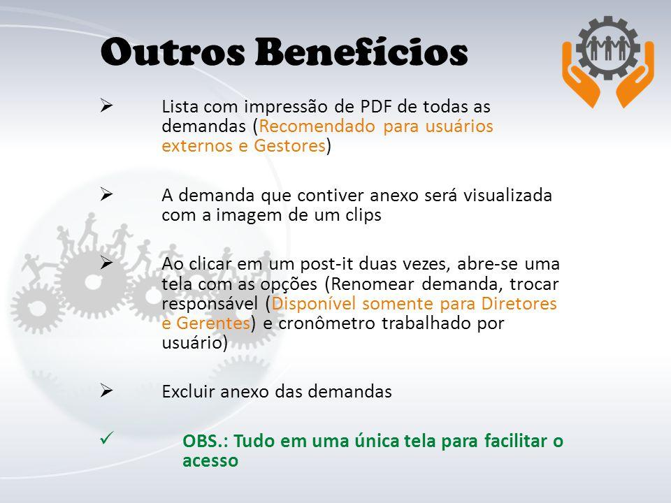 Lista com impressão de PDF de todas as demandas (Recomendado para usuários externos e Gestores) A demanda que contiver anexo será visualizada com a im