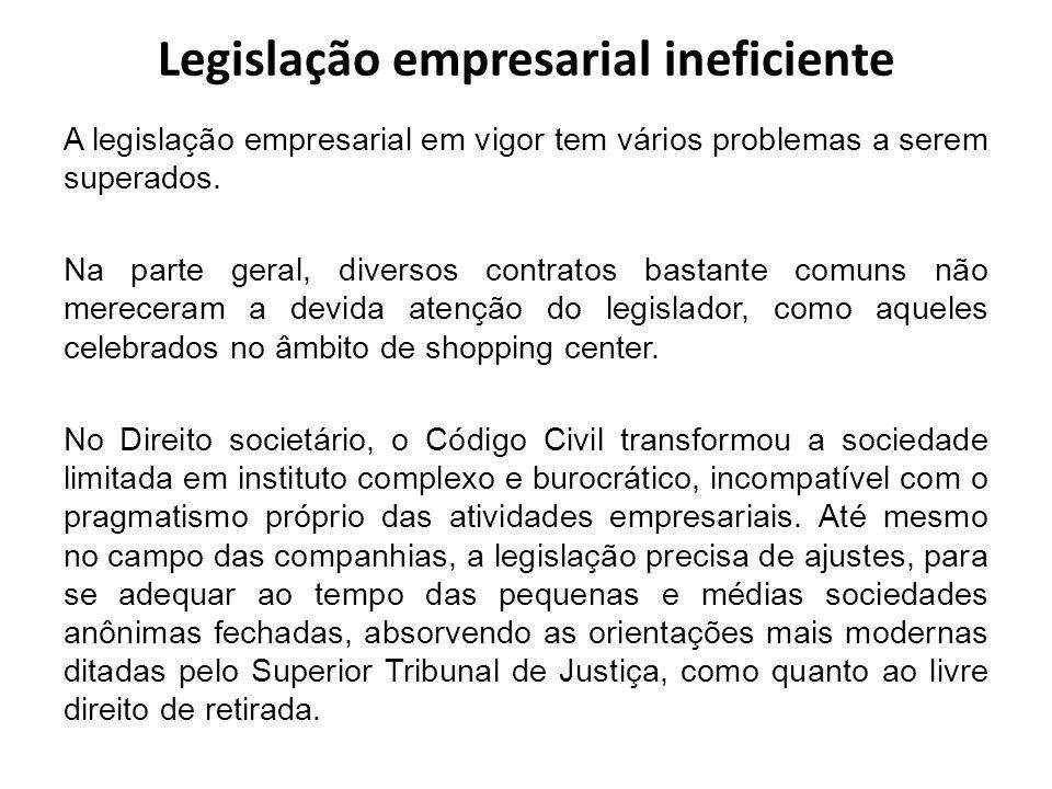 Legislação empresarial ineficiente A legislação empresarial em vigor tem vários problemas a serem superados. Na parte geral, diversos contratos bastan