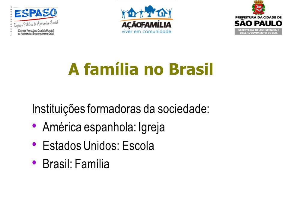 A família no Brasil Diversidade de modelos, amplitude do território, diferentes colonizações, miscigenação, as imigrações, diferenças socioeconômicas.