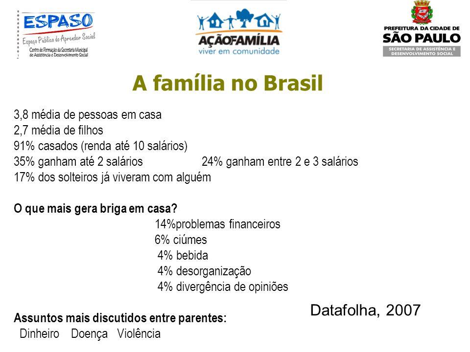 A família no Brasil Assim, a família é um grupo social, bem como uma rede de relações. Funda-se na genealogia e nos elos jurídicos, mas também se faz