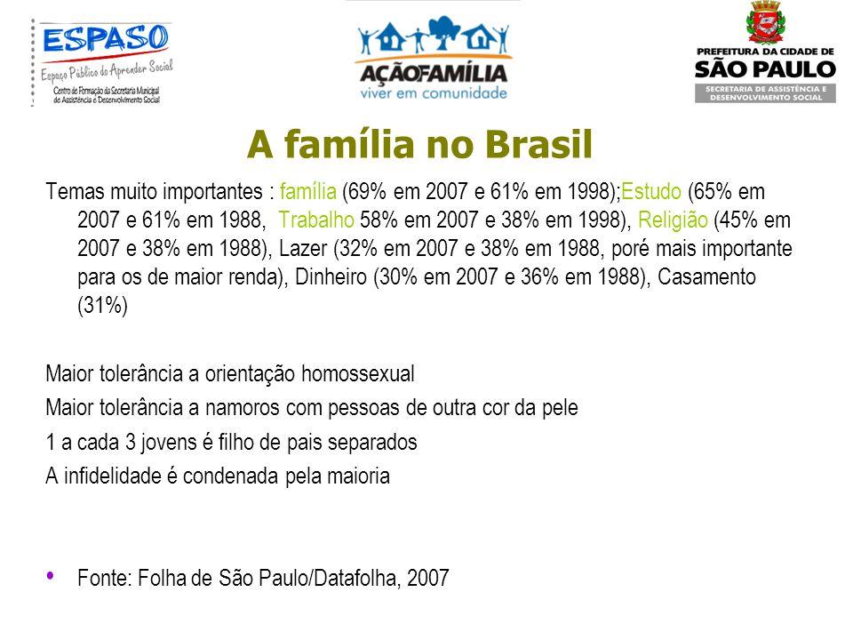 A família no Brasil 29, 2% lares chefiados por mulheres Falta vagas em creche; há discriminação no mercado de trabalho p/ 49% entrevistados – mulher s