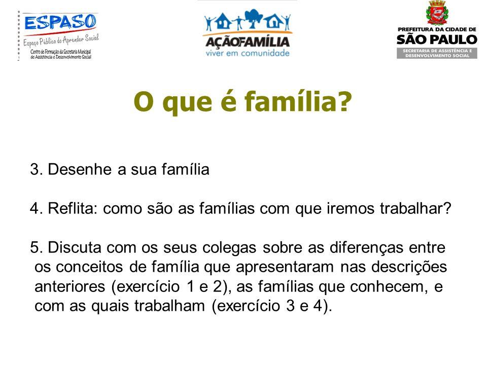 O que é família? Exercício de reflexão: 1. Escreva o que é família. 2. Desenhe uma família