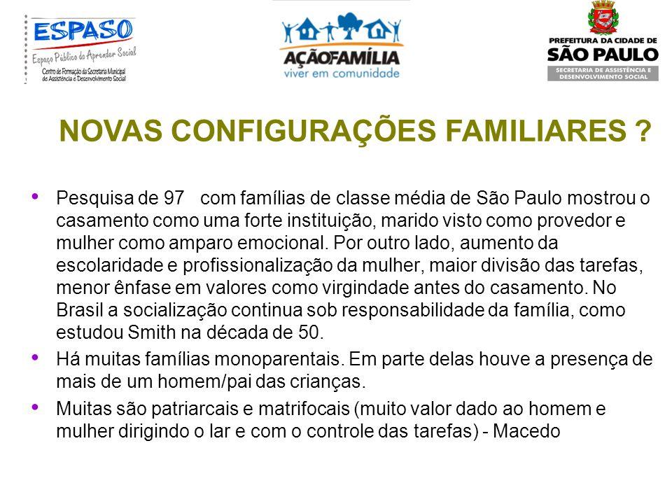 CERVENY, (1999) A Família ainda é como era... E a família não é mais a mesma. FIGUEIRA (1986) O moderno e o antigo convivendo na família brasileira, d