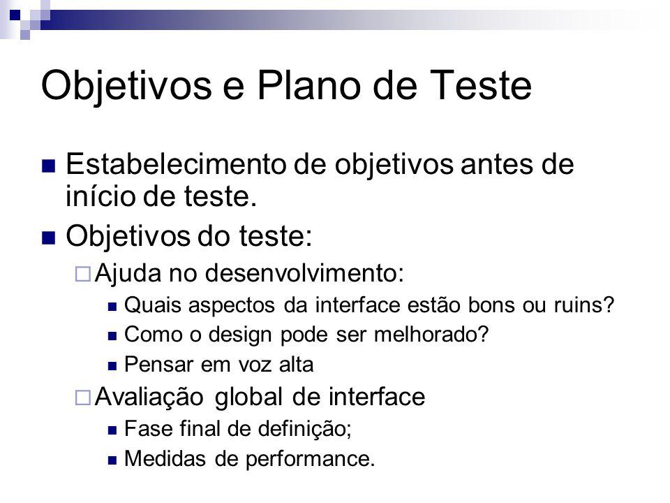 Objetivos e Plano de Teste Estabelecimento de objetivos antes de início de teste.