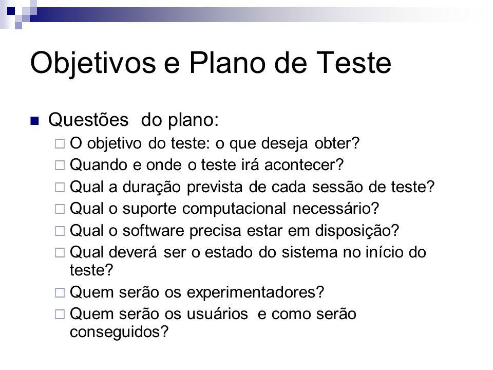 Objetivos e Plano de Teste Questões do plano: O objetivo do teste: o que deseja obter.