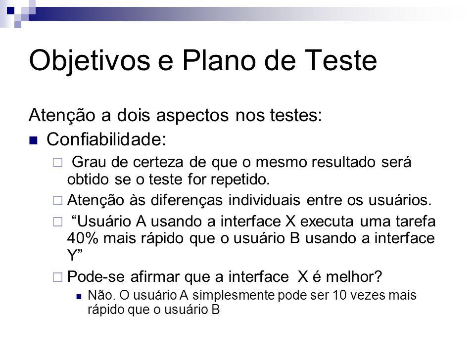 Objetivos e Plano de Teste Atenção a dois aspectos nos testes: Confiabilidade: Grau de certeza de que o mesmo resultado será obtido se o teste for repetido.