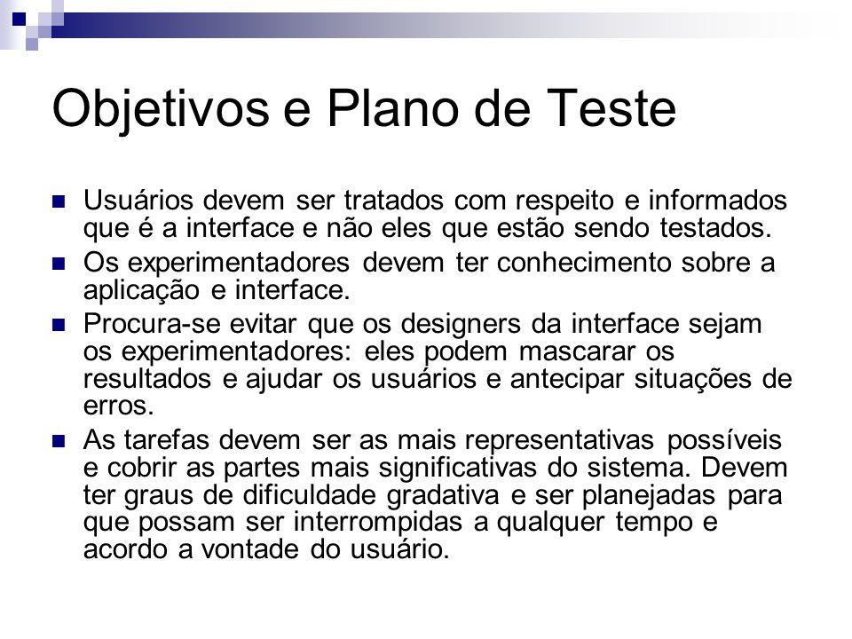 Objetivos e Plano de Teste Usuários devem ser tratados com respeito e informados que é a interface e não eles que estão sendo testados.
