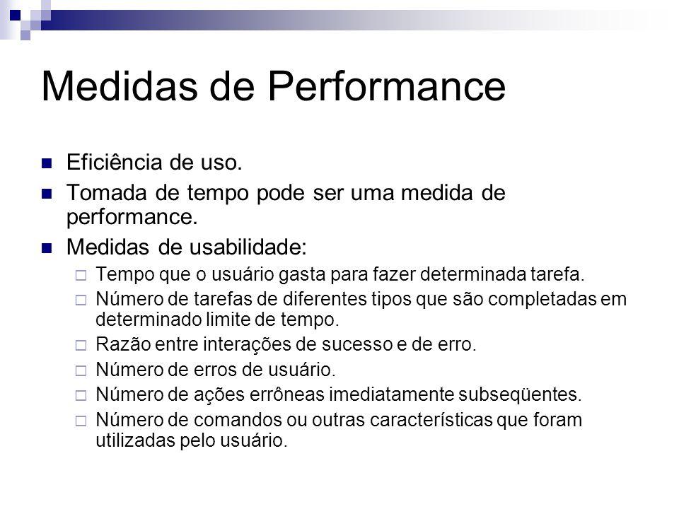 Medidas de Performance Eficiência de uso. Tomada de tempo pode ser uma medida de performance.