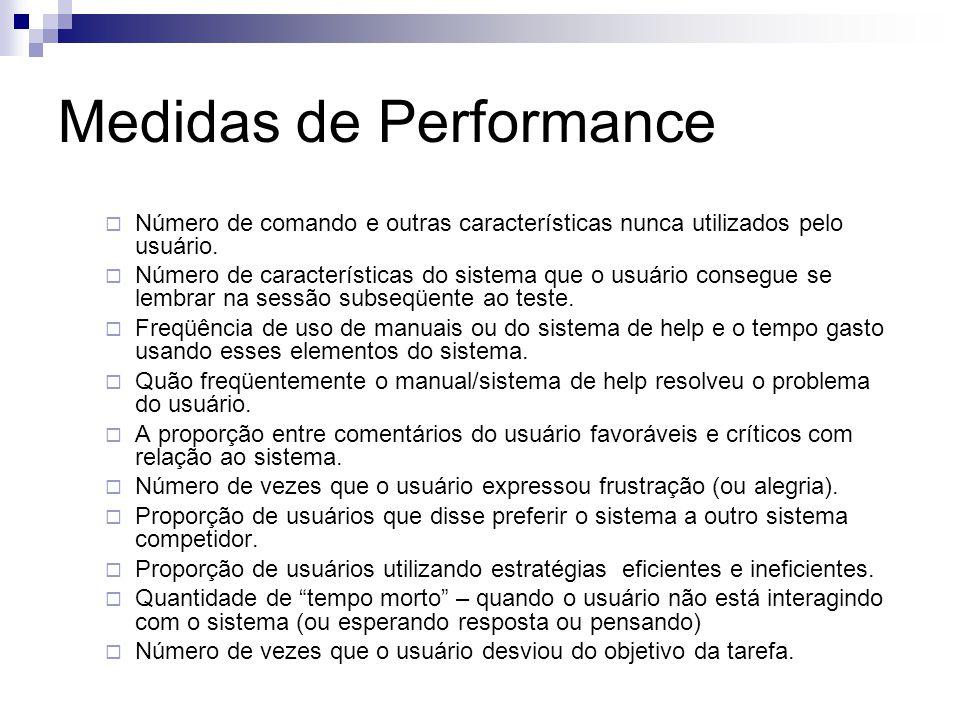 Medidas de Performance Número de comando e outras características nunca utilizados pelo usuário.
