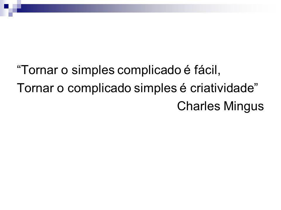 Tornar o simples complicado é fácil, Tornar o complicado simples é criatividade Charles Mingus