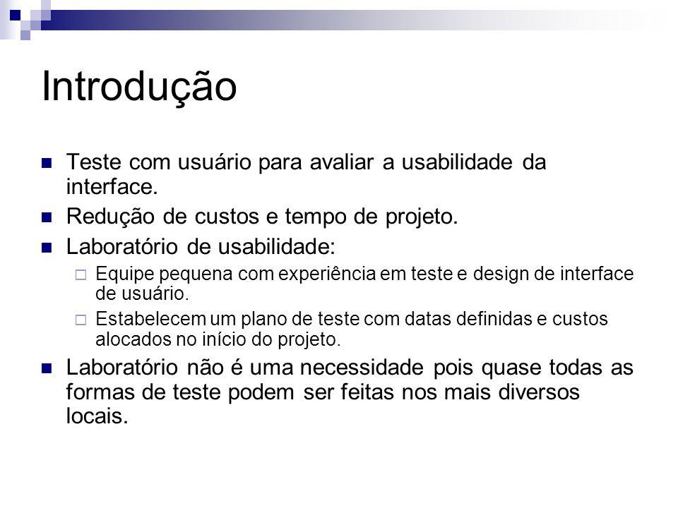 Introdução Teste com usuário para avaliar a usabilidade da interface.