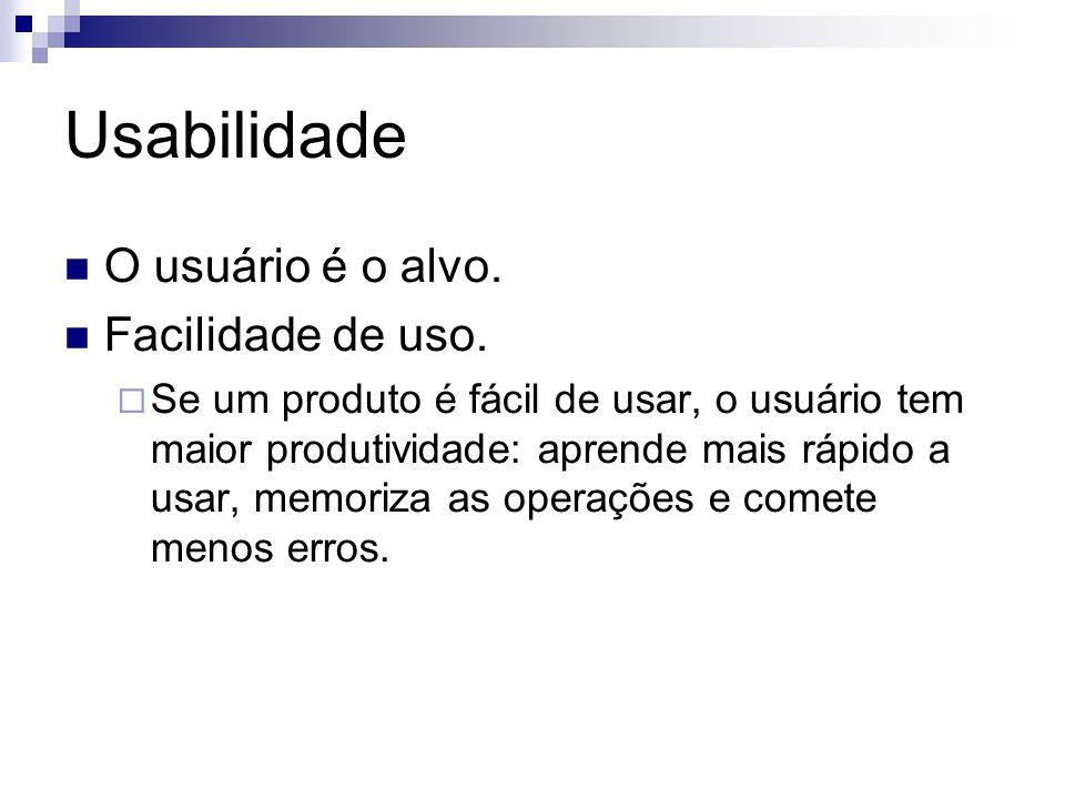 Usabilidade O usuário é o alvo. Facilidade de uso.
