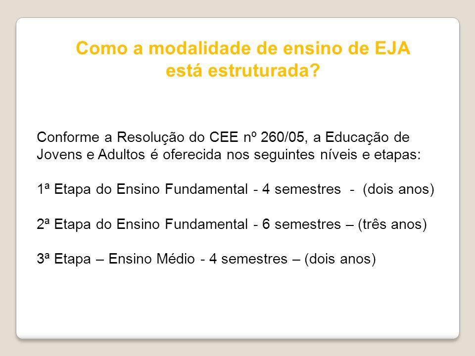 Como a modalidade de ensino de EJA está estruturada? Conforme a Resolução do CEE nº 260/05, a Educação de Jovens e Adultos é oferecida nos seguintes n