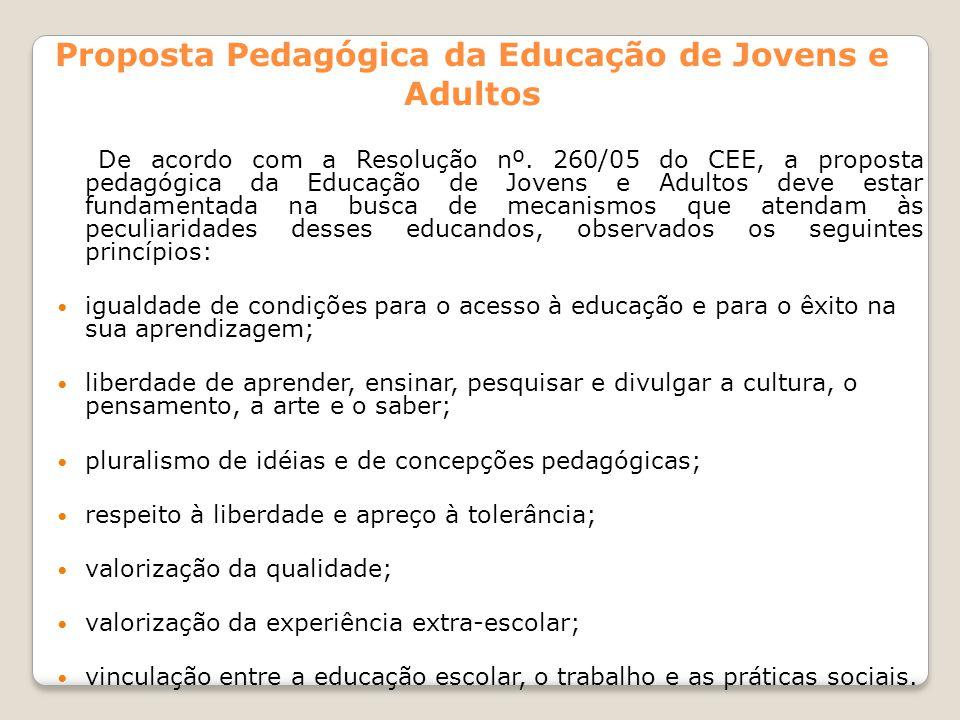 Proposta Pedagógica da Educação de Jovens e Adultos De acordo com a Resolução nº. 260/05 do CEE, a proposta pedagógica da Educação de Jovens e Adultos