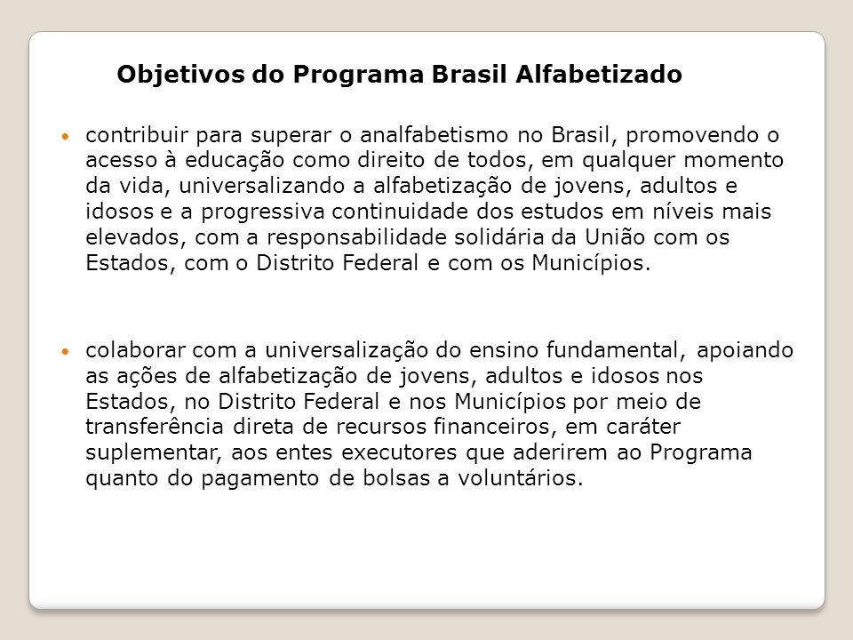 Objetivos do Programa Brasil Alfabetizado contribuir para superar o analfabetismo no Brasil, promovendo o acesso à educação como direito de todos, em