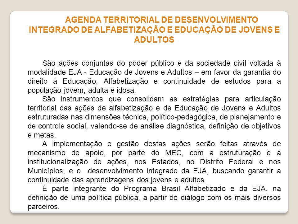 AGENDA TERRITORIAL DE DESENVOLVIMENTO INTEGRADO DE ALFABETIZAÇÃO E EDUCAÇÃO DE JOVENS E ADULTOS São ações conjuntas do poder público e da sociedade ci