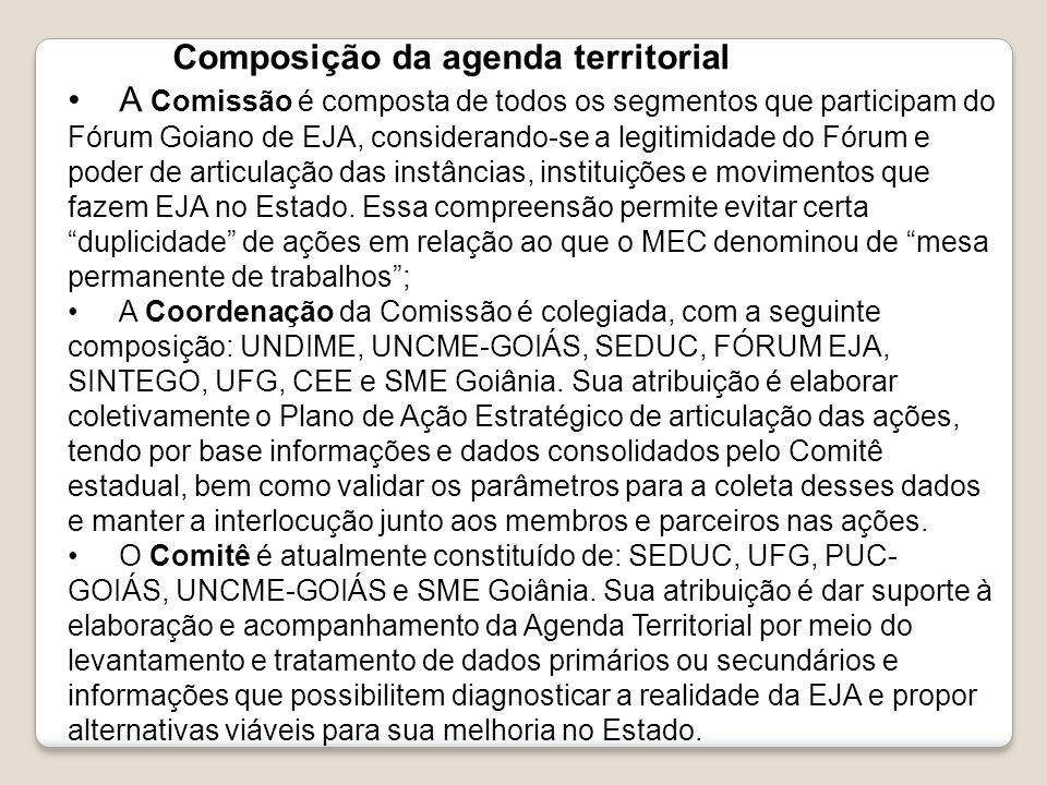 Composição da agenda territorial A Comissão é composta de todos os segmentos que participam do Fórum Goiano de EJA, considerando-se a legitimidade do