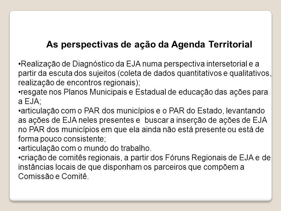 As perspectivas de ação da Agenda Territorial Realização de Diagnóstico da EJA numa perspectiva intersetorial e a partir da escuta dos sujeitos (colet