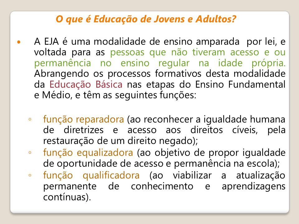 O que é Educação de Jovens e Adultos? A EJA é uma modalidade de ensino amparada por lei, e voltada para as pessoas que não tiveram acesso e ou permanê