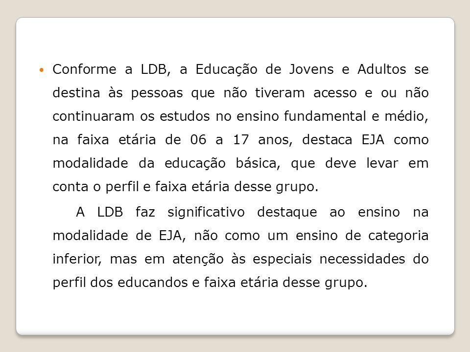Conforme a LDB, a Educação de Jovens e Adultos se destina às pessoas que não tiveram acesso e ou não continuaram os estudos no ensino fundamental e mé