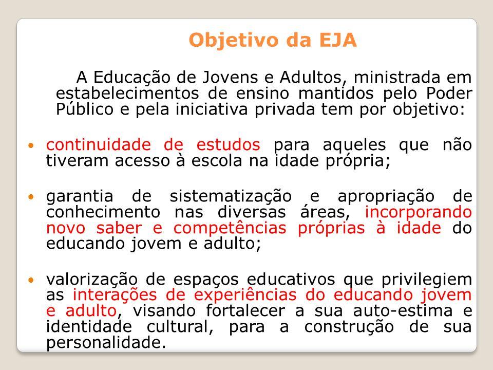 Objetivo da EJA A Educação de Jovens e Adultos, ministrada em estabelecimentos de ensino mantidos pelo Poder Público e pela iniciativa privada tem por