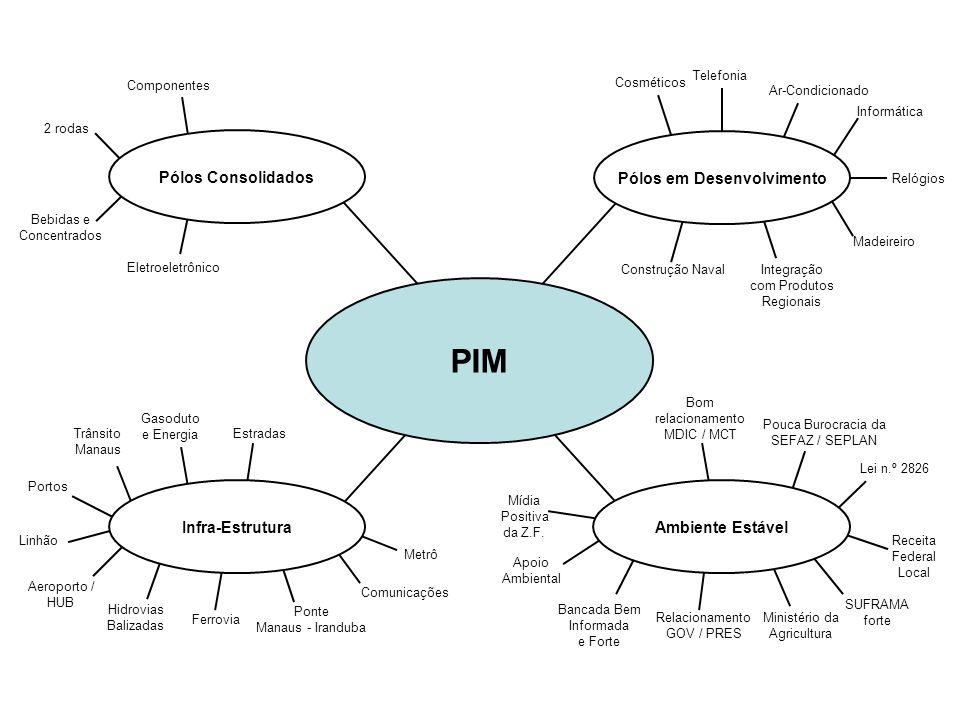 PIM Pólos Consolidados Pólos em Desenvolvimento Ambiente Estável Infra-Estrutura 2 rodas Eletroeletrônico Bebidas e Concentrados Componentes Telefonia