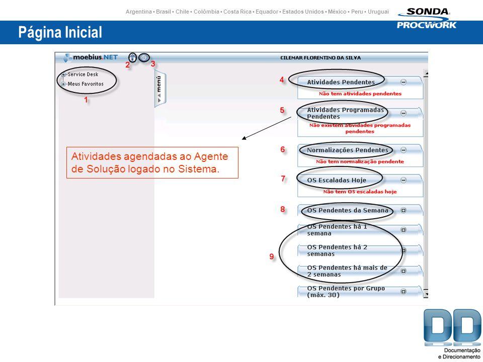 Argentina Brasil Chile Colômbia Costa Rica Equador Estados Unidos México Peru Uruguai Página Inicial Atividades agendadas ao Agente de Solução logado no Sistema.