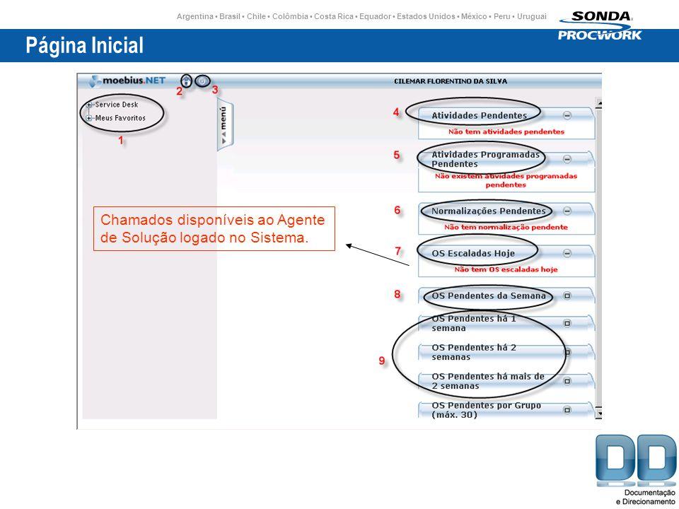 Argentina Brasil Chile Colômbia Costa Rica Equador Estados Unidos México Peru Uruguai Página Inicial Chamados disponíveis ao Agente de Solução logado no Sistema.