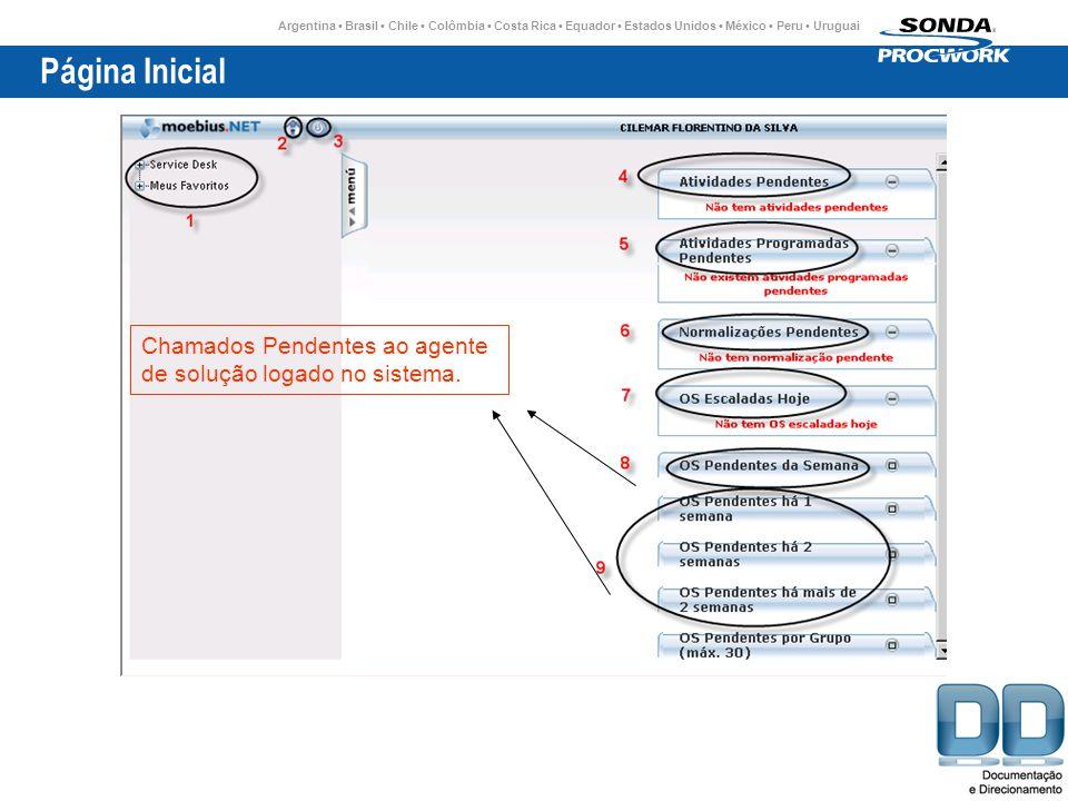 Argentina Brasil Chile Colômbia Costa Rica Equador Estados Unidos México Peru Uruguai Página Inicial Chamados Pendentes ao agente de solução logado no sistema.