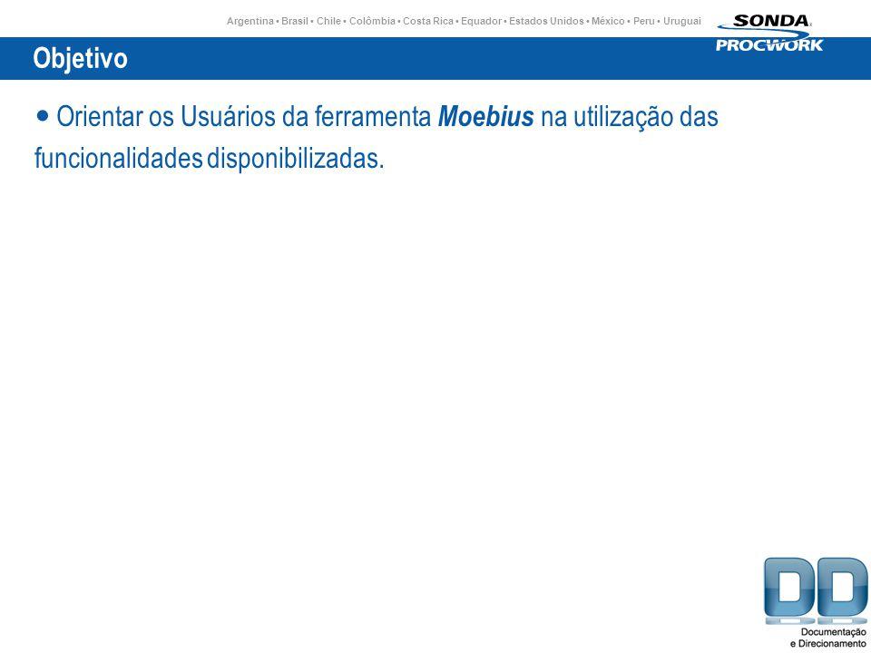 Argentina Brasil Chile Colômbia Costa Rica Equador Estados Unidos México Peru Uruguai Objetivo Orientar os Usuários da ferramenta Moebius na utilização das funcionalidades disponibilizadas.