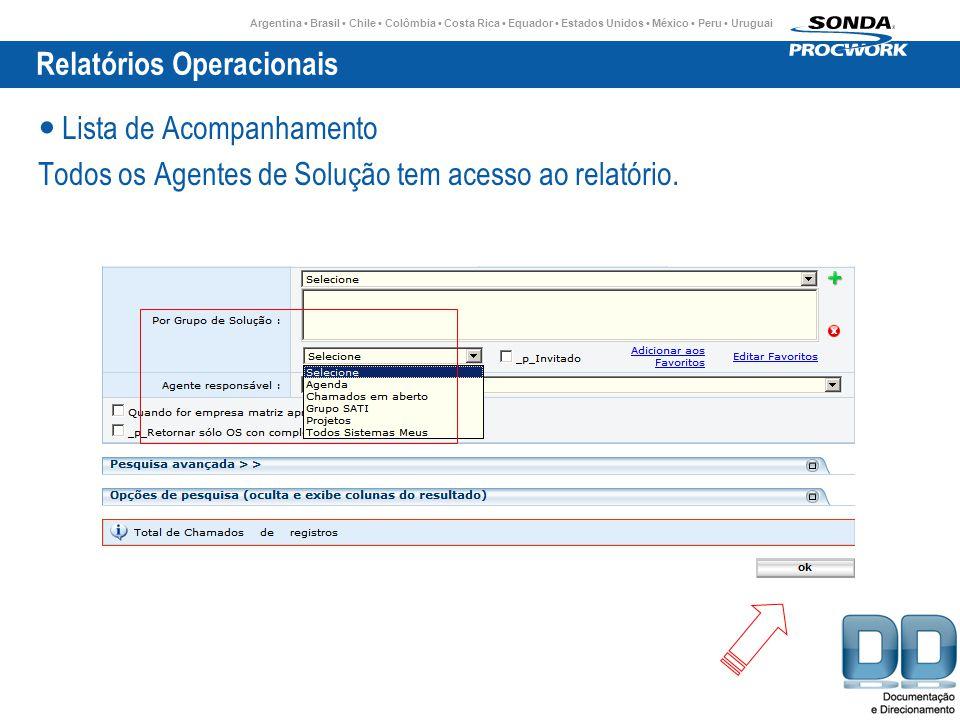 Argentina Brasil Chile Colômbia Costa Rica Equador Estados Unidos México Peru Uruguai Relatórios Operacionais Lista de Acompanhamento Todos os Agentes de Solução tem acesso ao relatório.