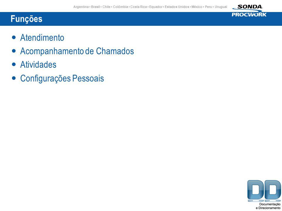 Argentina Brasil Chile Colômbia Costa Rica Equador Estados Unidos México Peru Uruguai Funções Atendimento Acompanhamento de Chamados Atividades Configurações Pessoais