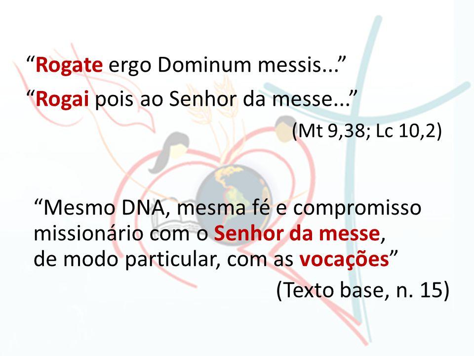 Rogate ergo Dominum messis... Rogai pois ao Senhor da messe... (Mt 9,38; Lc 10,2) Mesmo DNA, mesma fé e compromisso missionário com o Senhor da messe,