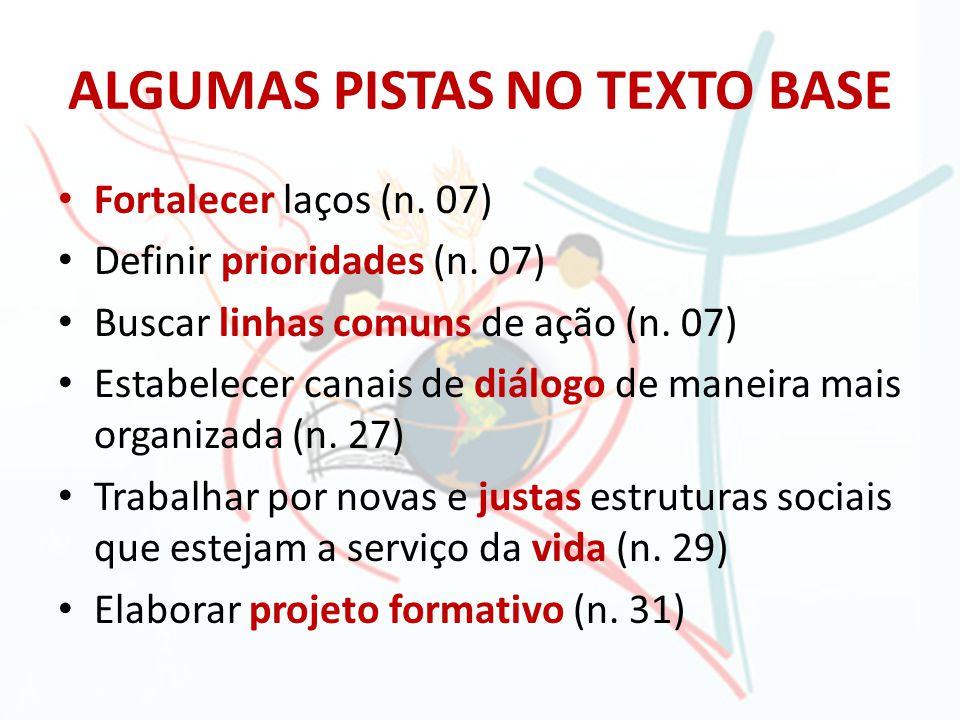 ALGUMAS PISTAS NO TEXTO BASE Fortalecer laços (n. 07) Definir prioridades (n. 07) Buscar linhas comuns de ação (n. 07) Estabelecer canais de diálogo d