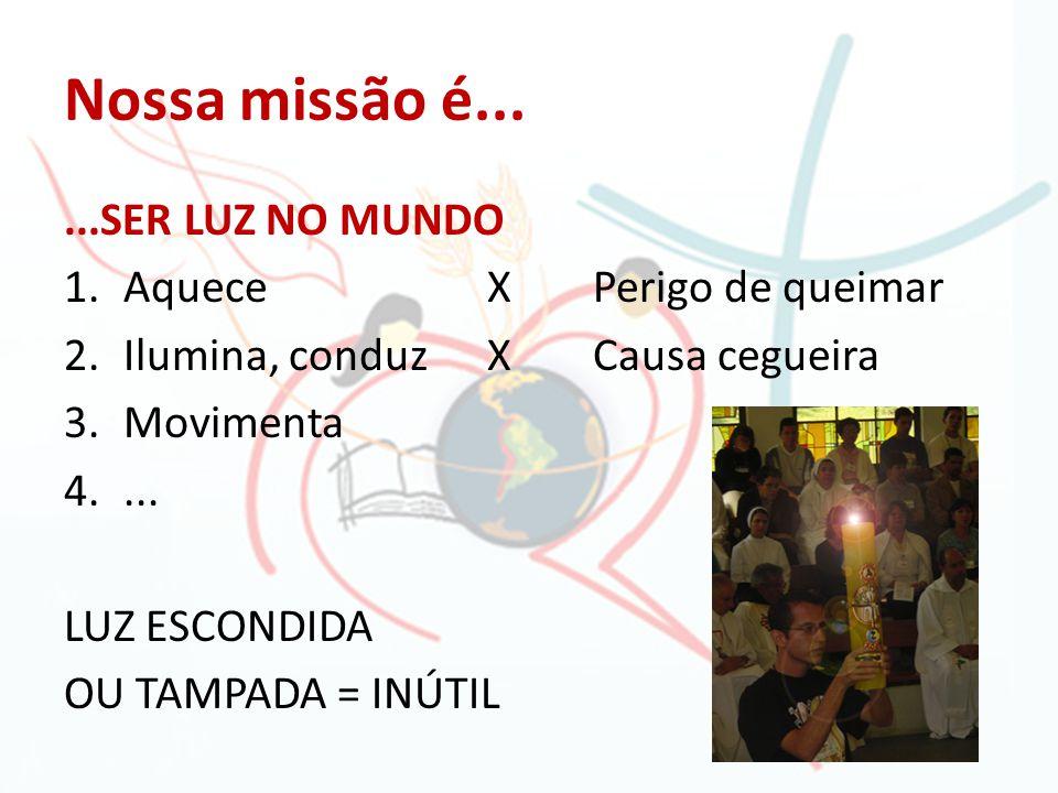 Nossa missão é......SER LUZ NO MUNDO 1.AqueceXPerigo de queimar 2.Ilumina, conduzXCausa cegueira 3.Movimenta 4.... LUZ ESCONDIDA OU TAMPADA = INÚTIL