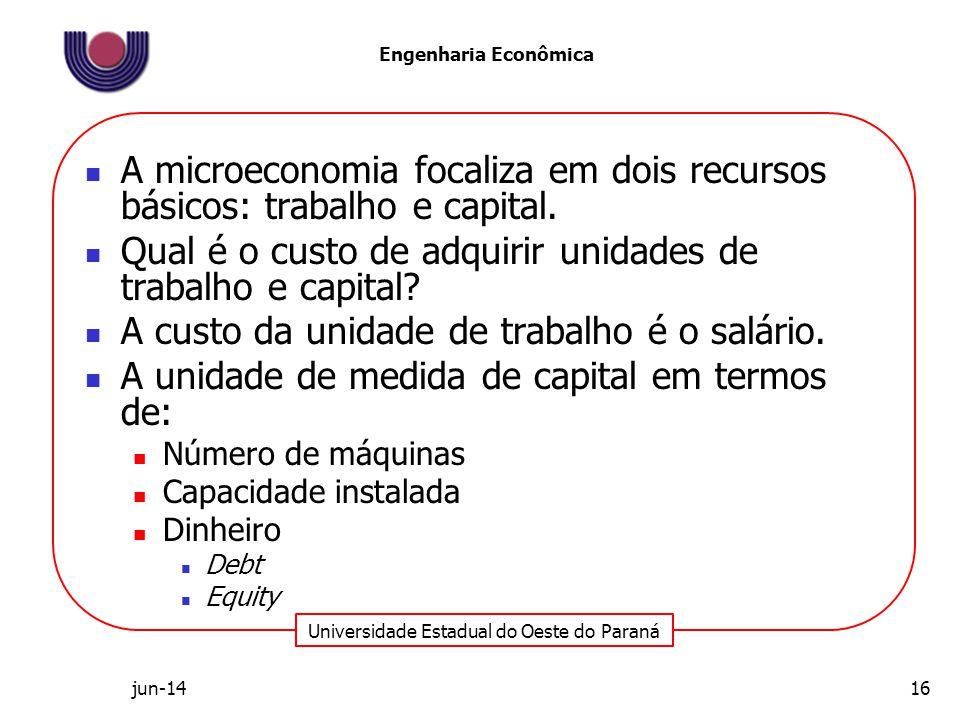 Universidade Estadual do Oeste do Paraná Engenharia Econômica A microeconomia focaliza em dois recursos básicos: trabalho e capital. Qual é o custo de
