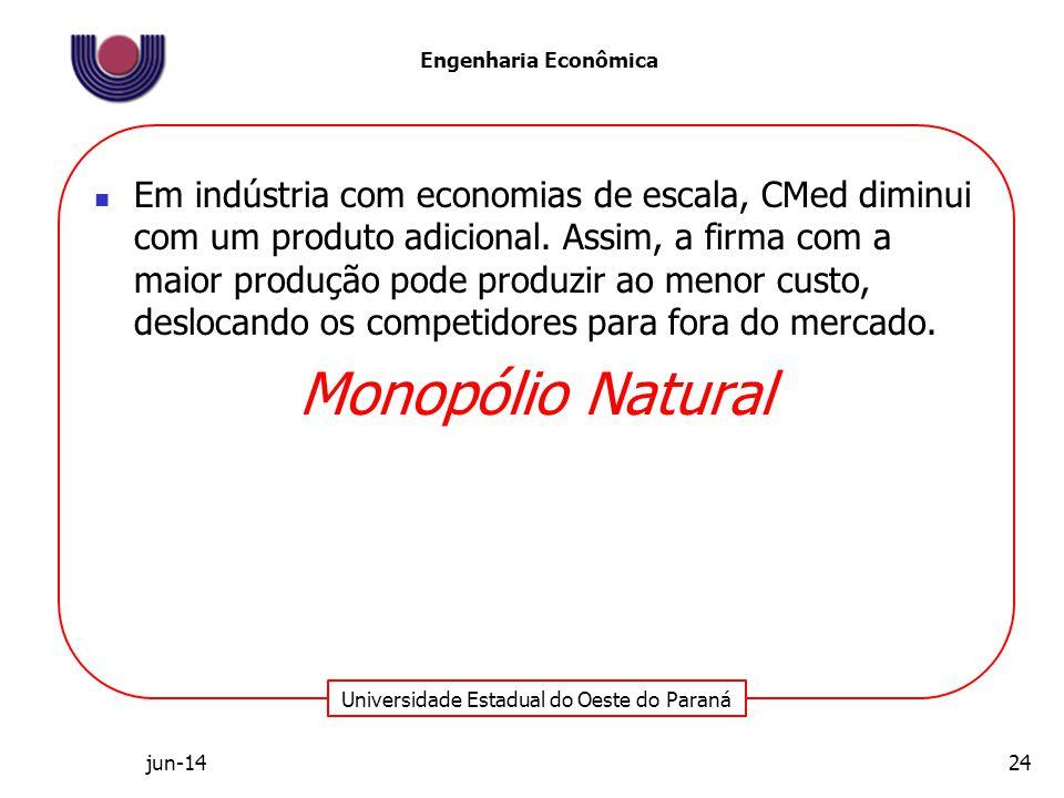 Universidade Estadual do Oeste do Paraná Engenharia Econômica Em indústria com economias de escala, CMed diminui com um produto adicional. Assim, a fi