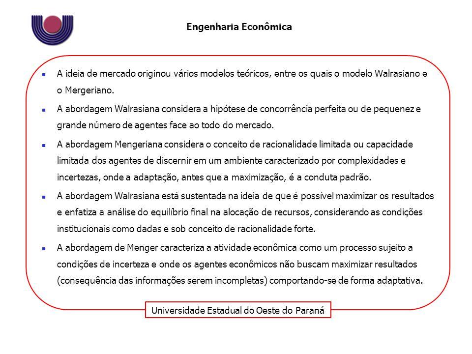 Universidade Estadual do Oeste do Paraná Engenharia Econômica Apesar das vantagens do mercado outras alternativas surgiram como estruturas de coordenação, devido a mudanças nas instituições políticas e econômicas e nas organizações e às falhas do modelo de mercado clássico.