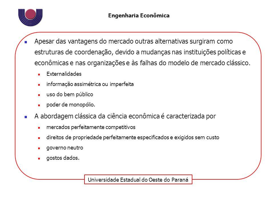 Universidade Estadual do Oeste do Paraná Engenharia Econômica Apesar das vantagens do mercado outras alternativas surgiram como estruturas de coordena