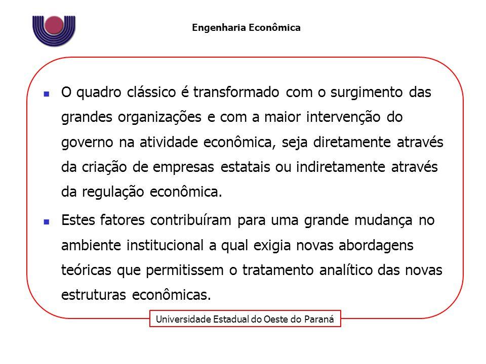 Universidade Estadual do Oeste do Paraná Engenharia Econômica O quadro clássico é transformado com o surgimento das grandes organizações e com a maior intervenção do governo na atividade econômica, seja diretamente através da criação de empresas estatais ou indiretamente através da regulação econômica.