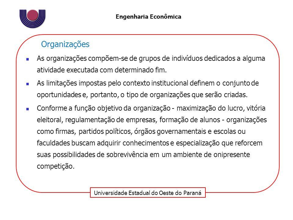 Universidade Estadual do Oeste do Paraná Engenharia Econômica Organizações As organizações compõem-se de grupos de indivíduos dedicados a alguma atividade executada com determinado fim.