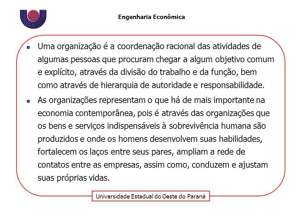 Universidade Estadual do Oeste do Paraná Engenharia Econômica Uma organização é a coordenação racional das atividades de algumas pessoas que procuram chegar a algum objetivo comum e explícito, através da divisão do trabalho e da função, bem como através de hierarquia de autoridade e responsabilidade.