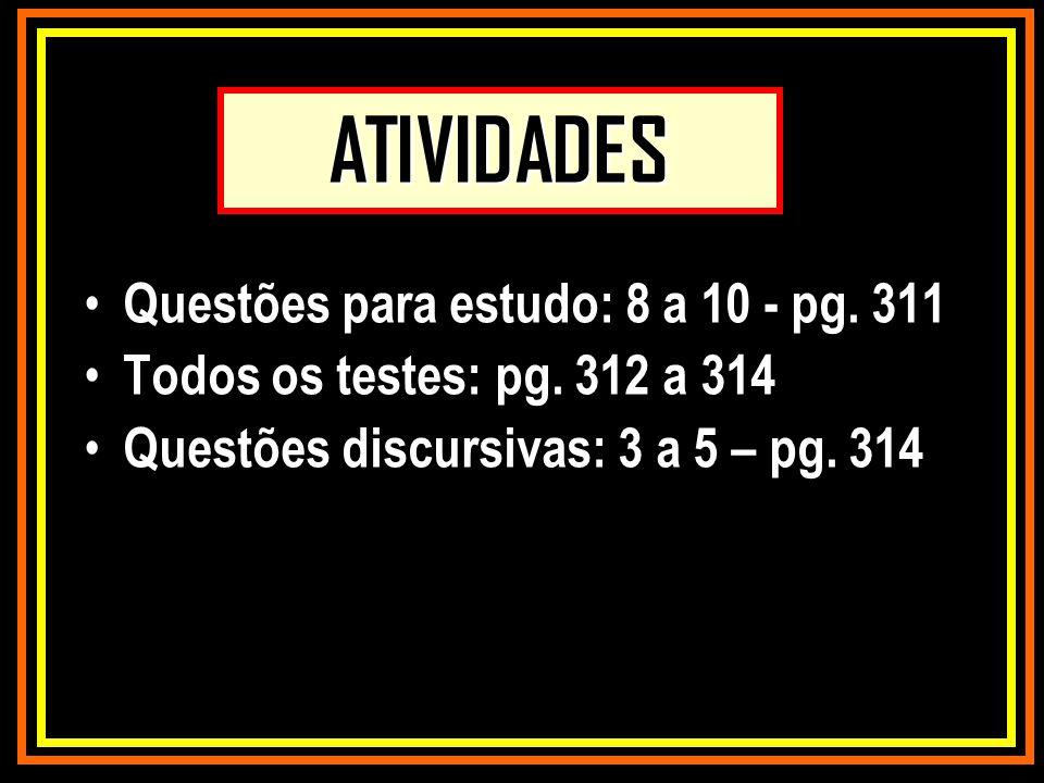 ATIVIDADES Questões para estudo: 8 a 10 - pg. 311 Todos os testes: pg. 312 a 314 Questões discursivas: 3 a 5 – pg. 314