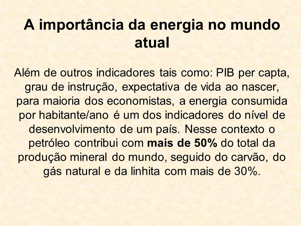 A importância da energia no mundo atual Além de outros indicadores tais como: PIB per capta, grau de instrução, expectativa de vida ao nascer, para maioria dos economistas, a energia consumida por habitante/ano é um dos indicadores do nível de desenvolvimento de um país.