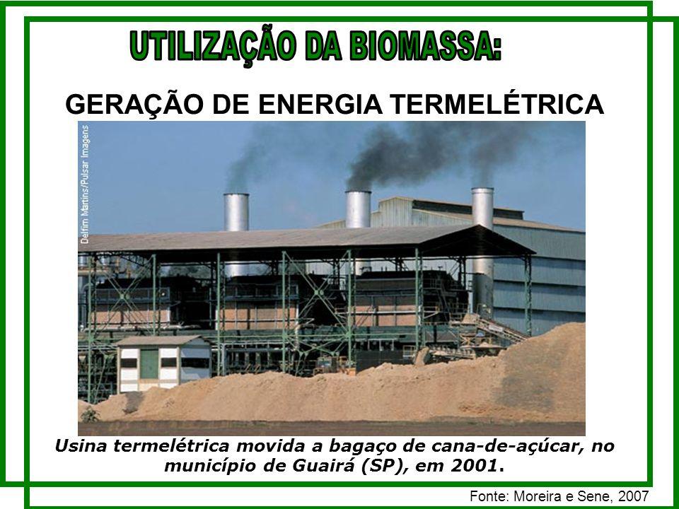 GERAÇÃO DE ENERGIA TERMELÉTRICA Usina termelétrica movida a bagaço de cana-de-açúcar, no município de Guairá (SP), em 2001.
