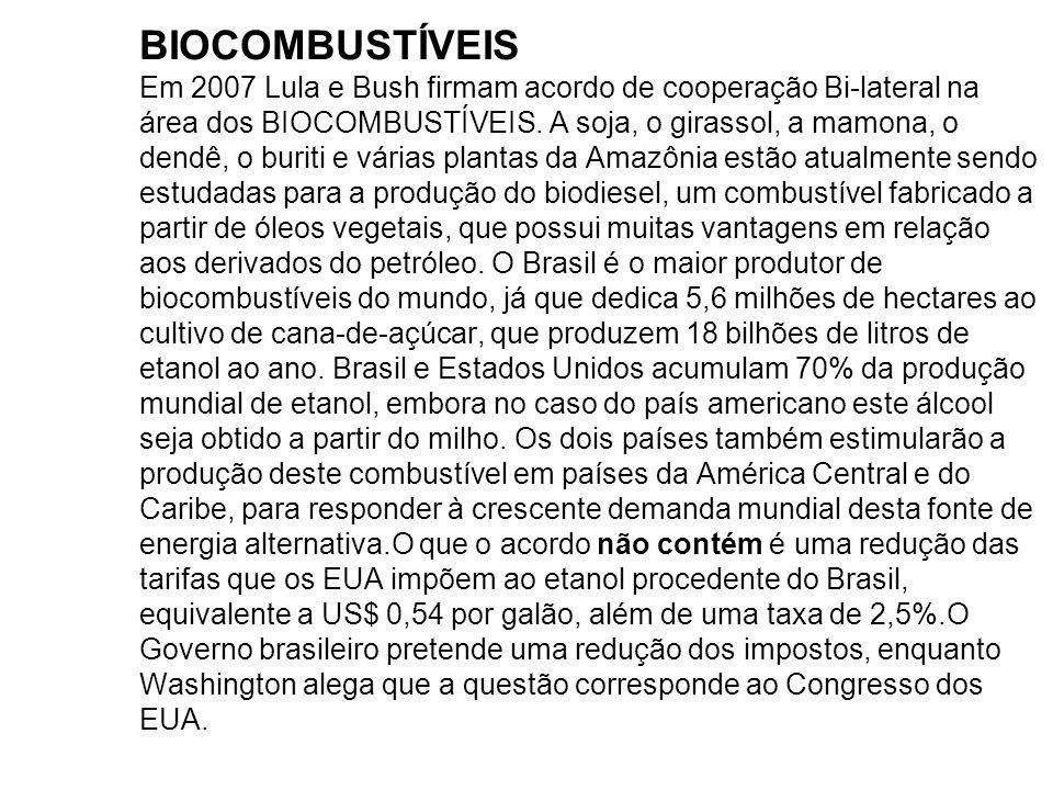 BIOCOMBUSTÍVEIS Em 2007 Lula e Bush firmam acordo de cooperação Bi-lateral na área dos BIOCOMBUSTÍVEIS.